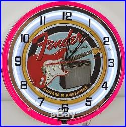 18 Vintage FENDER GUITAR Metal Sign Dbl Neon Wall Clock Amplifier Music Studio
