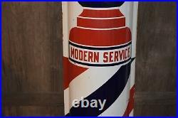 1930's Vintage Barber Shop Modern Service 48 Curved Porcelain Metal Sign