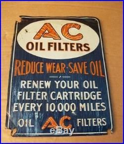 1930s 40s RARE! VINTAGE A C OIL FILTER EMBOSSED METAL SIGN 13 1/2 X 10