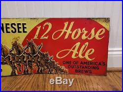 1934 Genesee 12 Horse Ale Tin Sign Beer Rochester NY Brewery Rare Metal Vintage