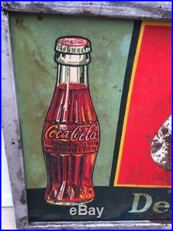 1936 Rare Vintage Coca Cola Metal Sign (72 x 30) 83 Years Old! Coke
