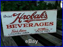 1940s Vintage Metal Hrobaks Beverages Sign, Cola Sign Falcon Pale Dry, Soda Sign
