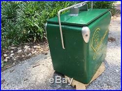 1950's Vintage Snackmaster Jr Soda Pop Beer Picnic Cooler Embossed Metal Sign