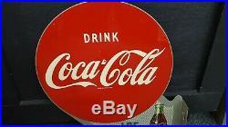 1951 Vintage Coca Cola 2 Sided Metal Flange Sign Original Great Condition