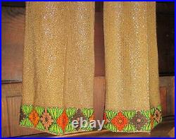 1960's 70's Mr. Dino 2 pc psychedelic pants set flowers metallic fabric signed