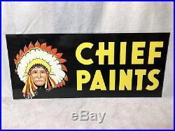 1960s Chief Paints Metal Sign NOS Antique Vintage