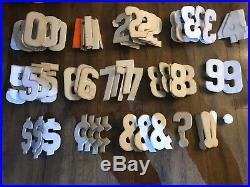 245 Vintage 7.5 Metal Sign Letters & Numbers Gas Service Station Sign Board