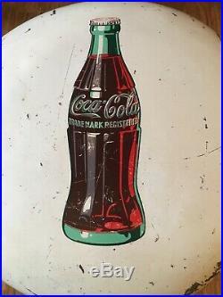 24 RARE Vintage White Metal Coca-Cola Coke Button Sign All Original Great Color