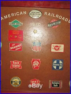 28 Vintage Metal Post Cereal Railroad Train Emblems Signs Lines Station Light