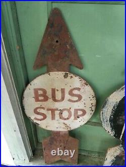 2 Antique Bus Stop Metal Police School Zone Arrow Sign Vintage Street