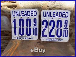 2, vintage GAS PUMP METAL FLIP PRICE SIGN VINTAGE OLD SERVICE
