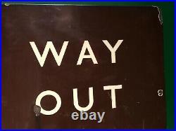 50s Vintage GWR Railway Station Platform WAY OUT Enamel Tin Metal Tray Sign