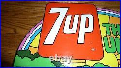 7 Up The Uncola Metal Sign Original Flange Type Vintage 1971 Peter Maxx