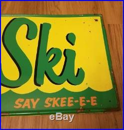 AUTHENTIC Rare Original VINTAGE Metal DRINK SKI SODA SIGN 1960s Advertising