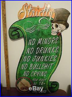 AWESOME LARGE Custom Vintage Tattoo Metal Sign 30 x 19 Good Condition