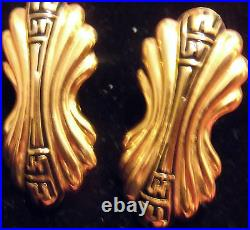 AWESOME Vintage Signed Fendi Gold Tone Clip On earrings