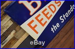 Amazing Beacon farm sign feed seed metal tin original vintage old HUGE unused