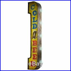 American Art Decor Cold Beer Vintage Bar Decor Distressed Metal LED Sign Marquee
