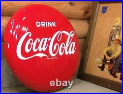 Antique Drink Coca Cola Metal Button Round Porcelain Sign Vintage Retro
