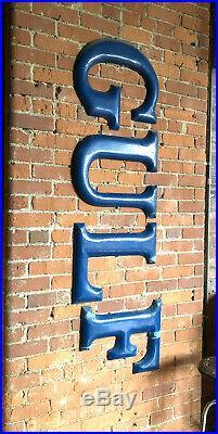 Antique GULF metal enamel sign MidCentury Vintage Advertising