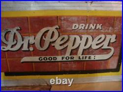 Antique LG 54 x 30 VINTAGE DRINK DR PEPPER GOOD FOR LIFE SODA POP BRICK SIGN
