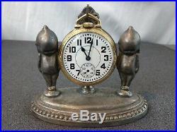 Antique Original Rose O'Neil Kewpie Figural Pocket Watch Holder Stand Signed
