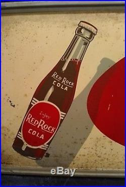 Antique Vintage Red Rock Cola Tin Advertising Sign Metal General Store Coke Coca