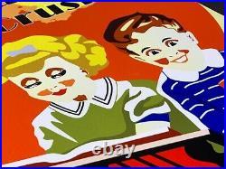 Big Vintage Orange Crush Soda Pop Advertising Metal Sign 12 X 18 Gas Station