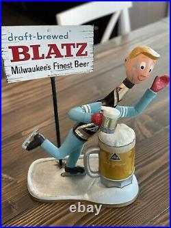 Blatz Beer 1950s Vintage Antique Cast Metal Ice Skater Sign Breweriana Milwaukee