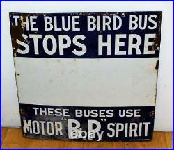 Blue Bird Bus BP enamel sign advertising decor mancave garage metal vintage anti