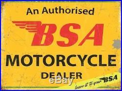 Bsa Motorcycle Authorised Dealer Old Vintage Bike Repro Metal Garage Wall Sign