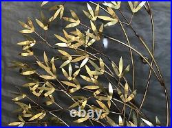 C Curtis Jere BLOWING BAMBOO Vtg MCM Metal Brass Art Wall Sculpture SIGNED 46