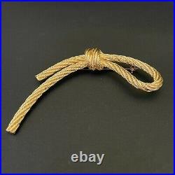 Christian Dior large vintage signed gold rope slip knot brooch pin