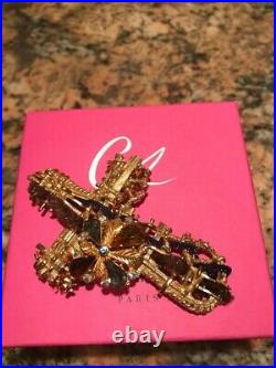Christian Lacroix Vintage Metal Large Pin Brooch Cross Signed, Box Bag