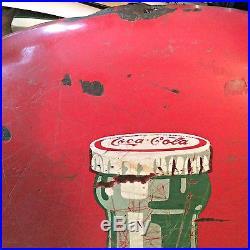 Coca-Cola Metal Button Sign, 36 diameter, Vintage Coke Advertising