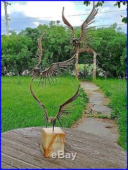 Curtis C. Jere signed Vintage MCM Metal art sculpture of three eagles in flight
