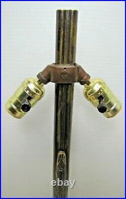 DOUBLE BARREL SHOTGUN Vintage Figural Lamp Light Double Bulb Cast Metal Gun