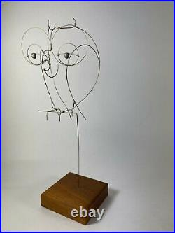 Dan Hay (attr.) Mid Century Modern Vintage Kinetic Wire Sculpture Owl Figure