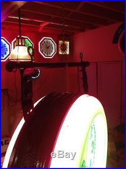 Electric neon clock and vintage sign metal hanging brackets like original design