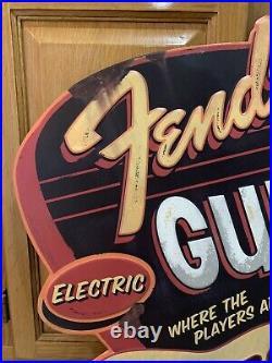 Fender Guitar Shop Sign Electric Metal Vintage Style Pick Guard String Band