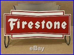 Firestone Tire Stand Sign Vintage Metal Garage Shop Decor Gas Oil Man Cave NOS