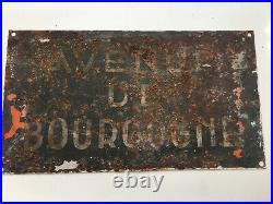 French Vintage 2-sided Big Street Sign Avenue Paul Minot & Avenue De Bourgogne