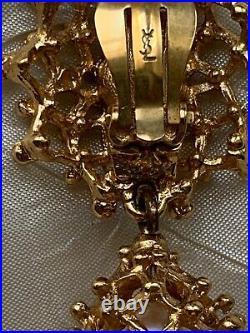 French Vintage YSL -Yves Saint Laurent- Clip-on Earrings -Pearl Drop, metal work
