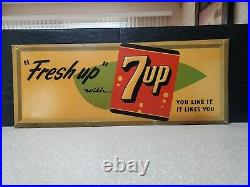 Fresh up with 7up vintage metal sign 1940s 1950s