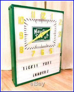 HUGE Mountain Dew Soda Vintage Metal Box Light-Up Clock Sign Hillbilly Drink