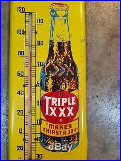 HUGE VINTAGE TRIPLE XXX ROOTBEER SODA POP METAL THERMOMETER Gas Station oil