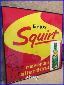 HUGE Vintage 1962 Framed Embossed Metal Squirt Sign Antique Nice Color Cola 9854