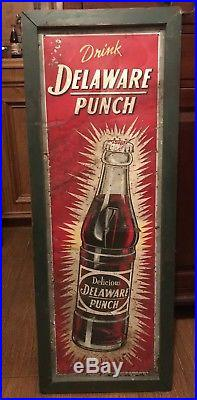 HUGE Vintage Embossed Stout Delaware Punch Metal Sign Antique Old Beverage Drink
