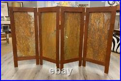 Hand Painted Signed Cowgirl Western Room Divider Screen Four Panel Adirondack