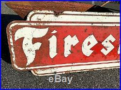 Horizontal Firestone Tires 2sided Vintage Gas Oil Auto Metal Sign GR8 Decor